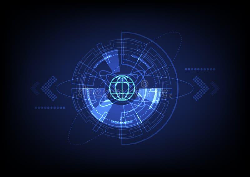 Abstrakt global satellit- teknologibakgrund, internetnätverksanslutning vektor illustrationer