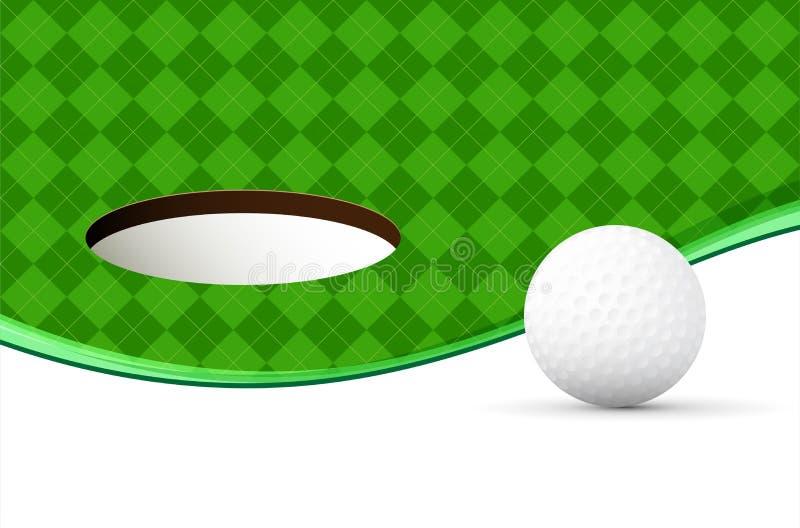 Abstrakt golfbakgrund med bollen, den gröna modellen och hålet vektor illustrationer