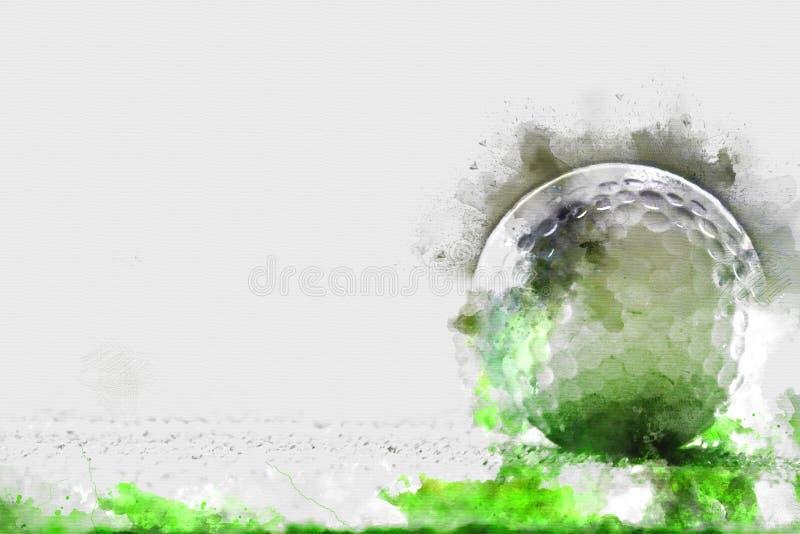 Abstrakt golfboll på vattenfärgmålningbakgrund stock illustrationer
