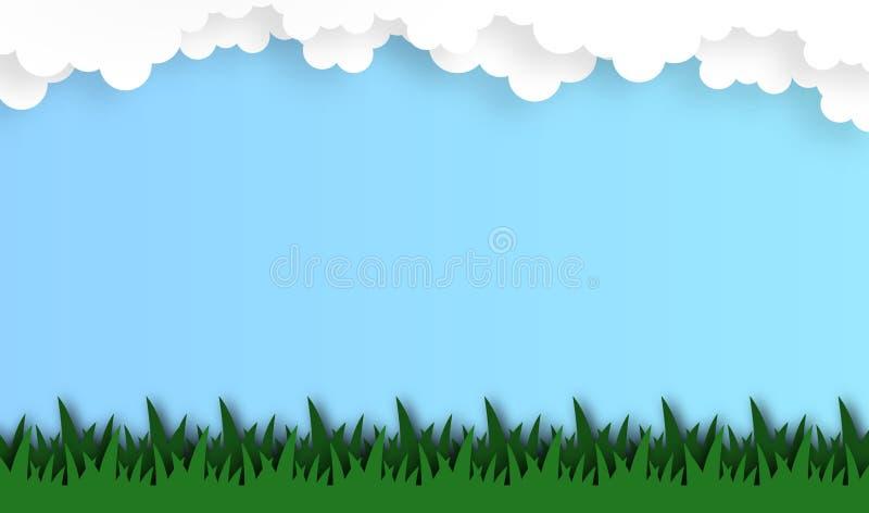 Abstrakt gräsfält med molnbakgrund, vektor, illustration, pappers- konststil royaltyfri illustrationer