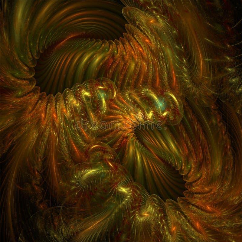 Abstrakt gräsplan och apelsinen för fractalkonstmystiker avmaskar galet spiralkaos royaltyfri illustrationer