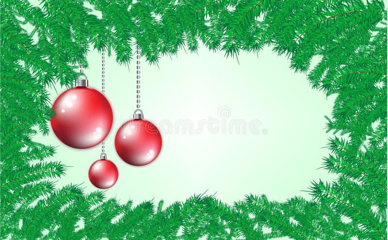 Abstrakt gräsplan sörjer filialbakgrund med röda och guld- bollar Jul och ramstil för nytt år arkivfoto