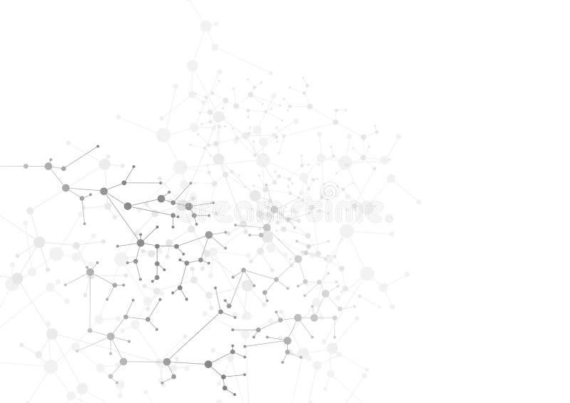 Abstrakt grå bakgrund för molekylär struktur för DNA royaltyfri illustrationer
