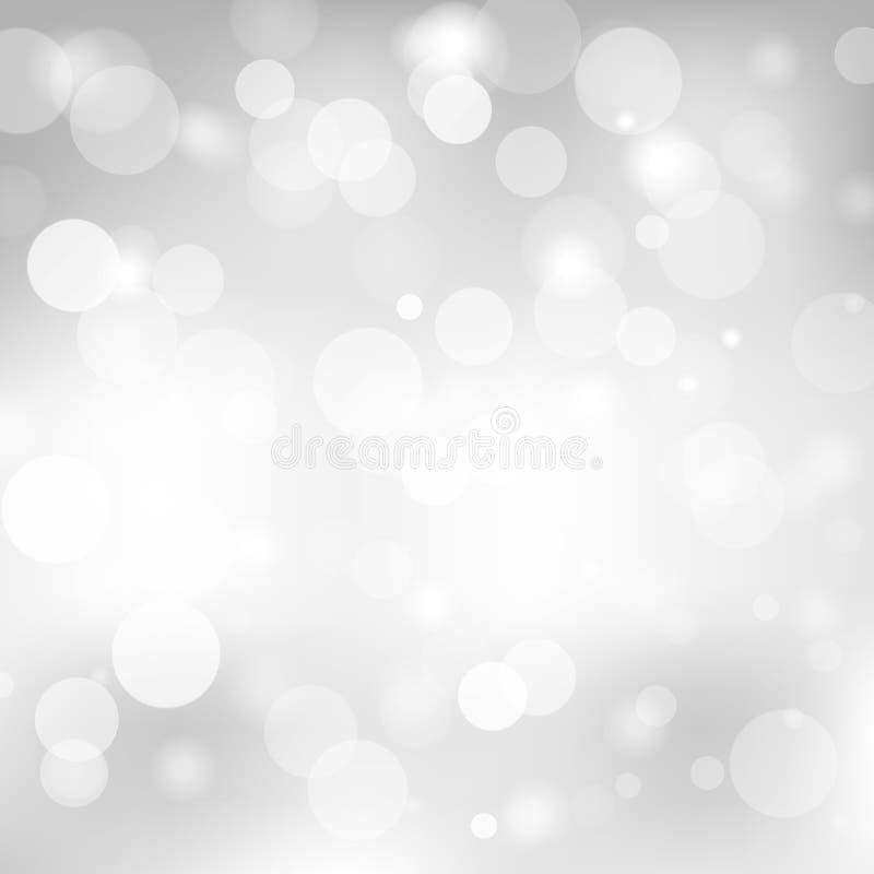 Abstrakt grå bakgrund med en suddighet för vitt ljus vektor illustrationer