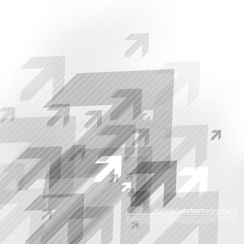 Abstrakt grå bakgrund med många pilar royaltyfri illustrationer