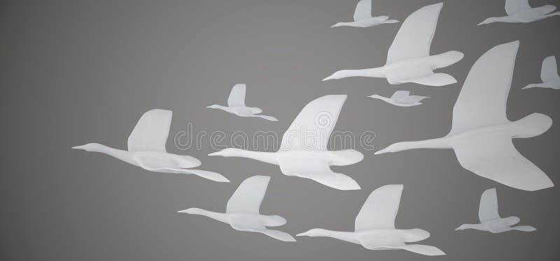 Abstrakt grå bakgrund med vita fåglar. Begreppet frihet, renhet och fred vektor illustrationer
