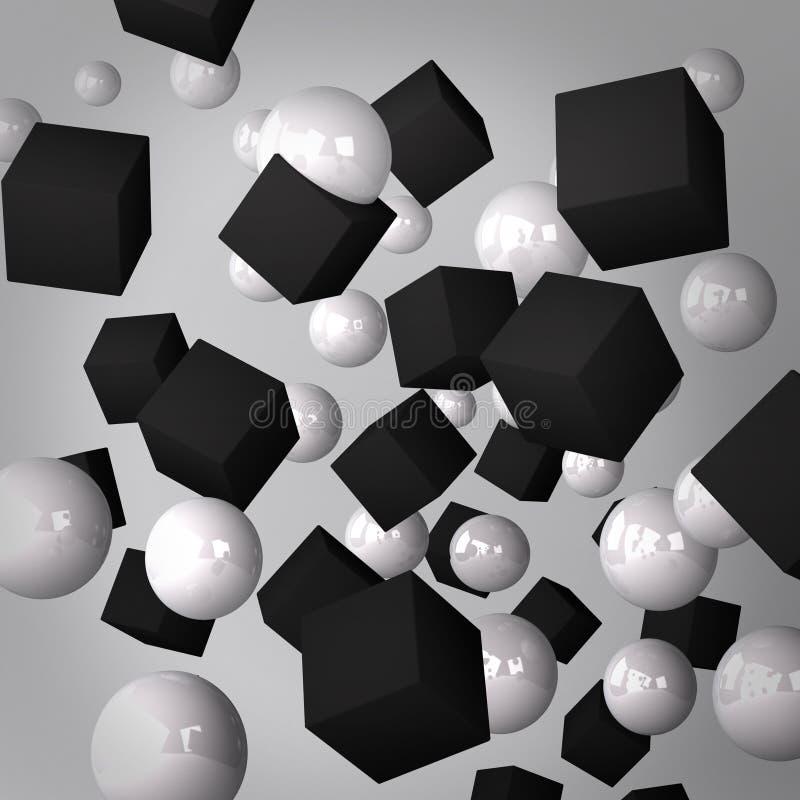 Abstrakt grå färgbakgrund som göras av svartkuber och vitspheres stock illustrationer