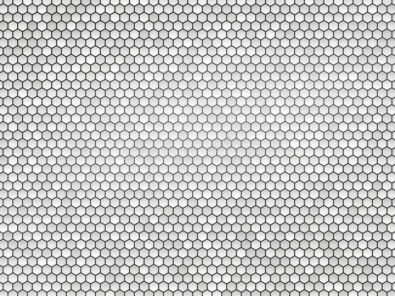 Abstrakt grå metallsexhörningstextur stock illustrationer
