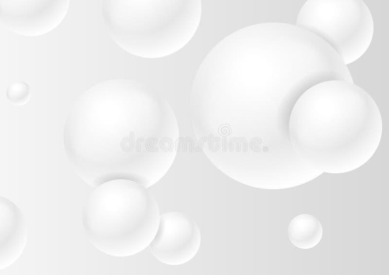 Abstrakt grå minsta futuristisk bollbakgrund stock illustrationer