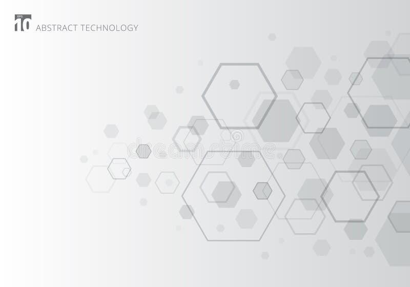 Abstrakt grå sexhörning på vit bakgrund Geometriska beståndsdelar av designen för moderna kommunikationer, teknologi som är digit stock illustrationer