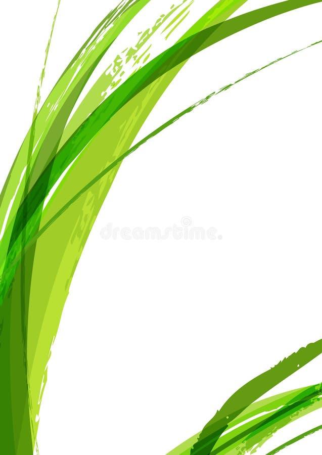 Abstrakt grön bakgrund för sidavattenfärgborste, vektortempl stock illustrationer