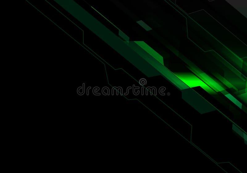 Abstrakt grön energi för polygonljusteknologi på modern futuristisk bakgrundsvektor för svart design stock illustrationer