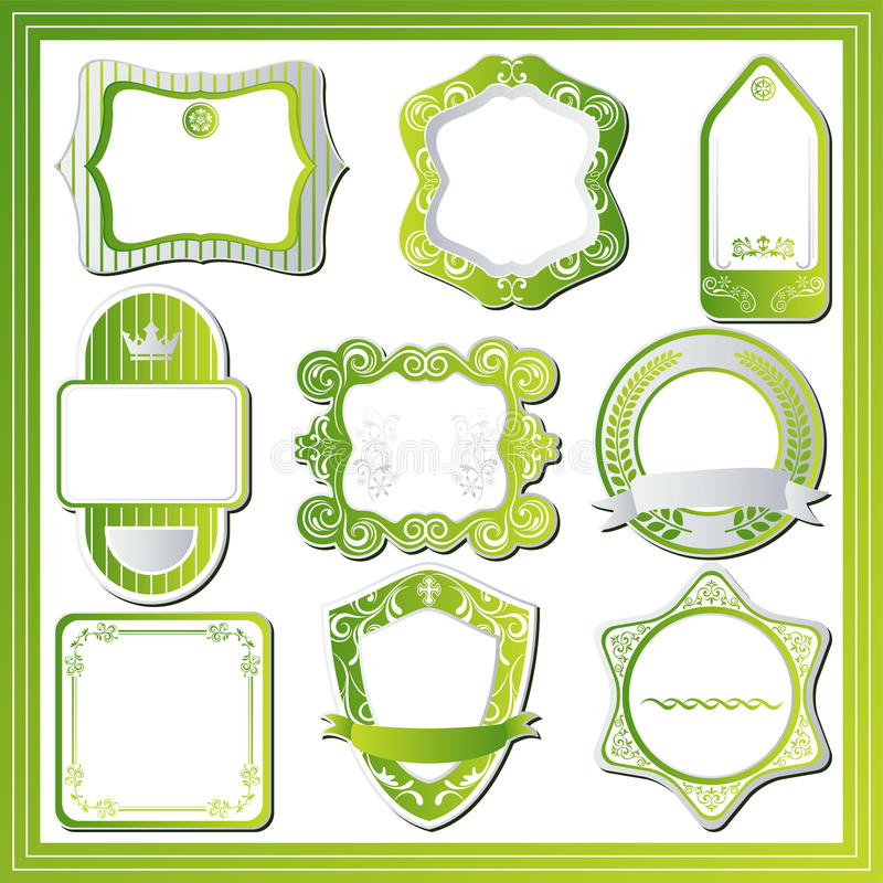 abstrakt grön etikettset royaltyfri illustrationer
