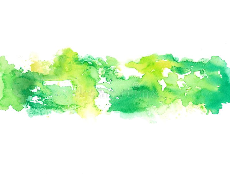 Abstrakt grön färgstänk för handmålarfärgvattenfärg på vitt bakgrundspapper stock illustrationer
