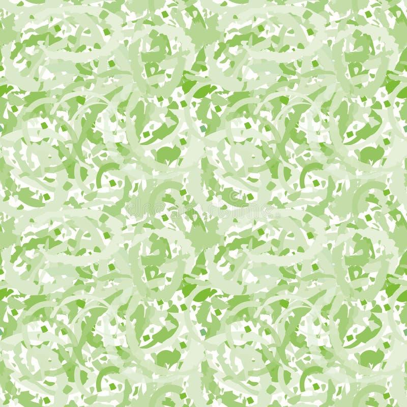 Abstrakt grön genomskinlig terrazzodesign som skapar en painterly marmorera effekt Sömlös vektormodell på vit vektor illustrationer