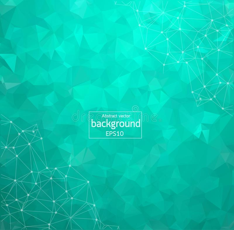 Abstrakt grön geometrisk Polygonal bakgrundsmolekyl och kommunikation Förbindelselinjer med prickar Begrepp av vetenskapen, chemi stock illustrationer