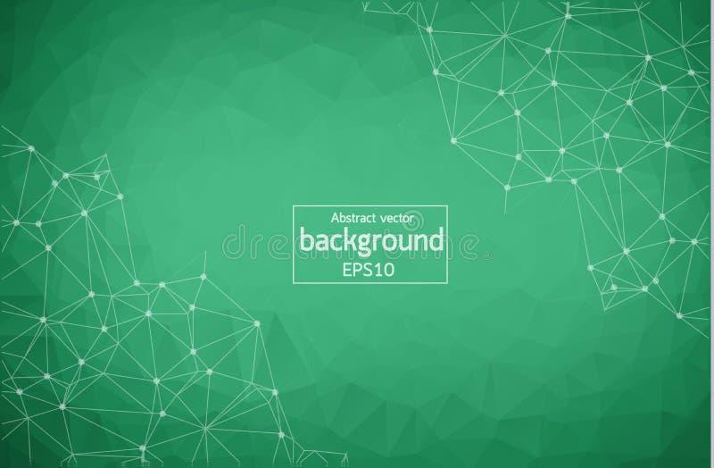 Abstrakt grön geometrisk Polygonal bakgrundsmolekyl och kommunikation Förbindelselinjer med prickar Begrepp av vetenskapen, chemi royaltyfri illustrationer