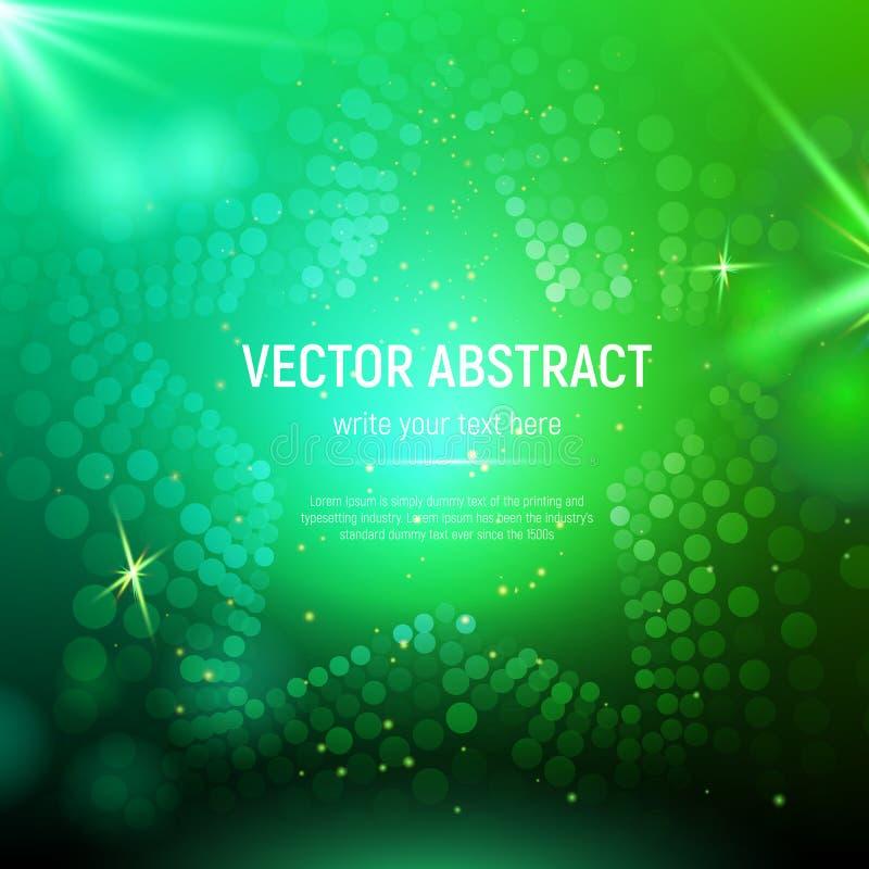 Abstrakt grön ingreppsstjärnabakgrund med cirklar, linssignalljus och glödande reflexioner också vektor för coreldrawillustration stock illustrationer