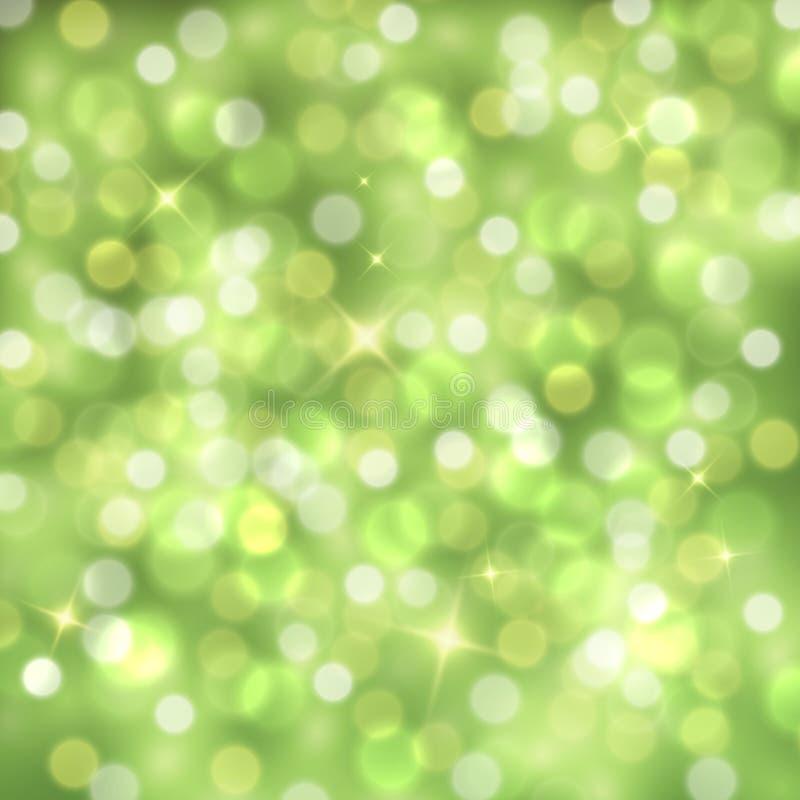 Abstrakt grön mousserande bakgrund för vektor med suddiga ljus royaltyfri illustrationer