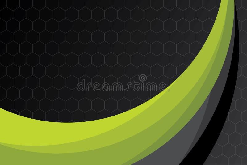 Abstrakt grön och svart illustration för kurvbakgrundsvektor vektor illustrationer