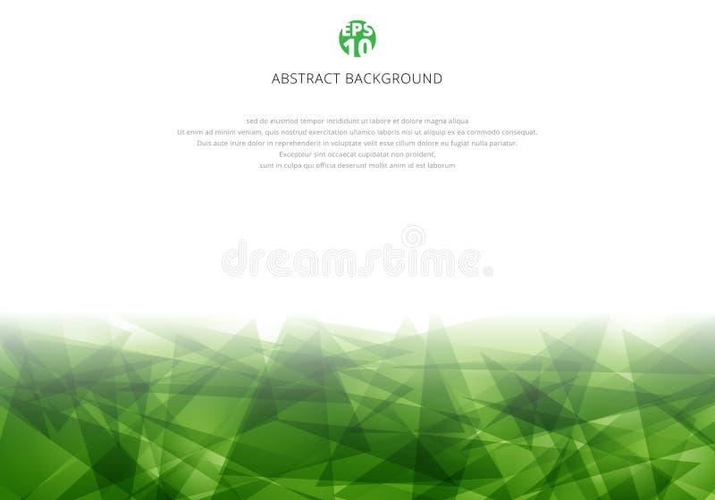 Abstrakt grön polygonal överlappning på vit bakgrund med kopieringsutrymme Modern stil för geometriska trianglar vektor illustrationer