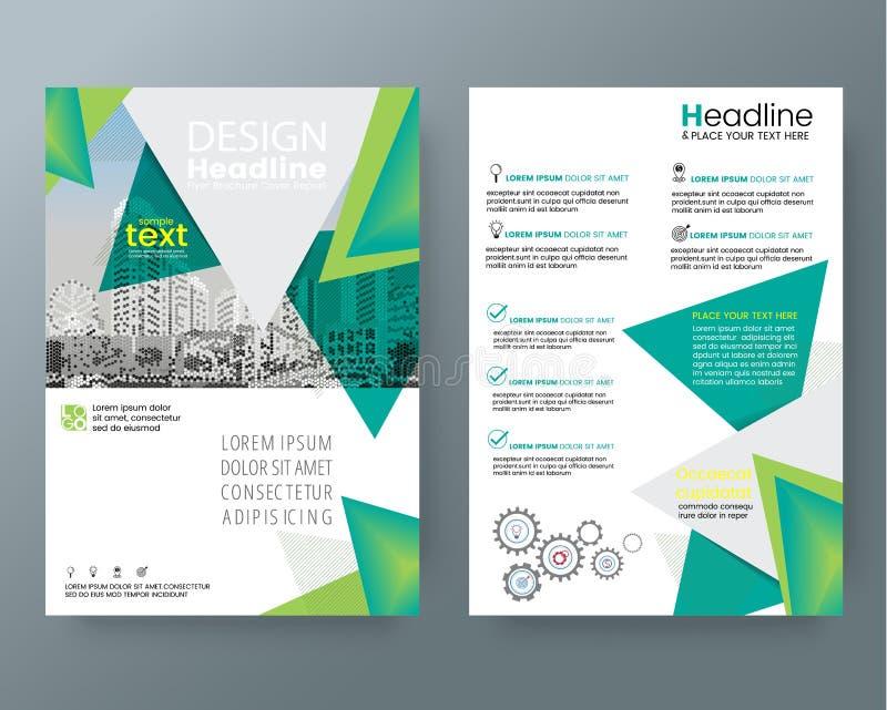 Abstrakt grön stolpe för reklamblad för räkning för triangelbroschyrårsrapport vektor illustrationer