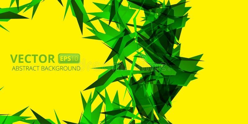 Abstrakt grön triangelvektorbakgrund på guling stock illustrationer