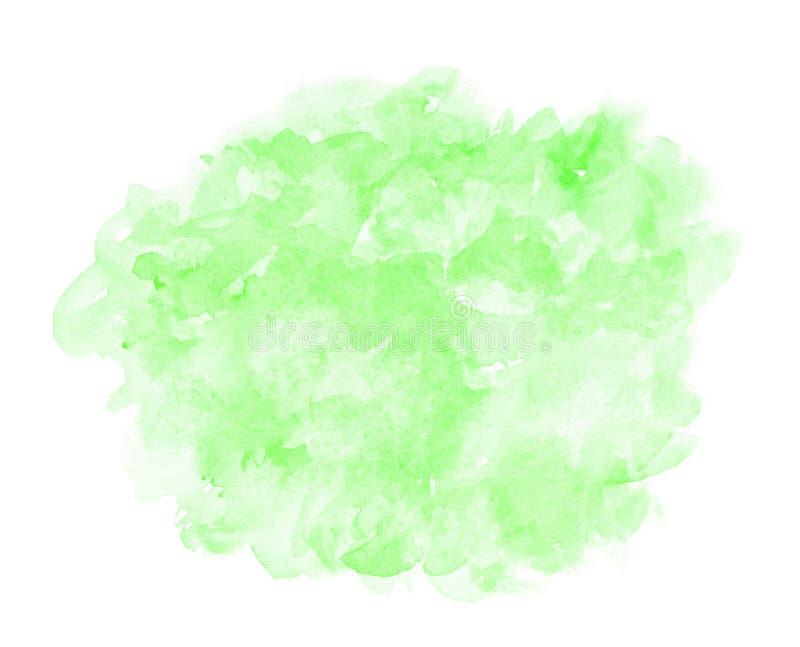 Abstrakt grön vattenfärg på vit bakgrund Färgen som plaskar i papperet Det är en dragen hand vektor illustrationer
