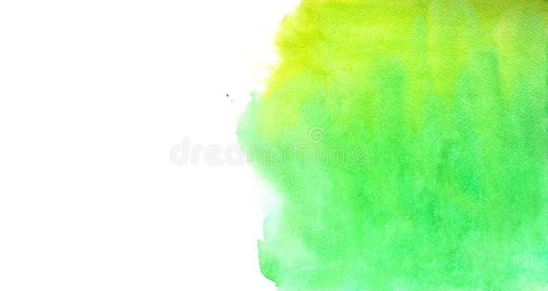 Abstrakt grön vattenfärg på vit bakgrund, grön vattenfärg som plaskar på papperet, abstrakt målad illustrationdesign royaltyfri illustrationer