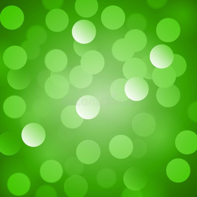 Abstrakt grön vektorbakgrund med realistisk bokeh tänder Sanktt Patricks dag royaltyfri illustrationer