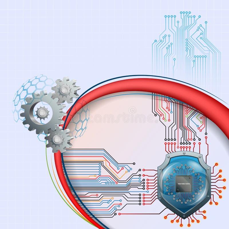 Abstrakt grafisk design för dator med skölden bak processorchip och kugghjul vektor illustrationer