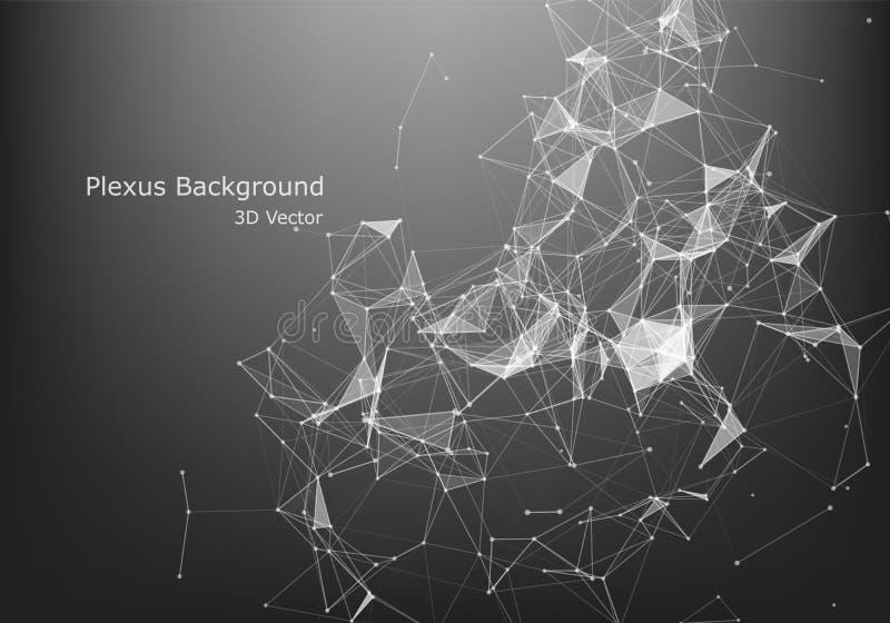 Abstrakt grafisk design för internetuppkoppling och för teknologi polygonal bakgrund, geometrisk bakgrund med prickar, linjer, tr stock illustrationer