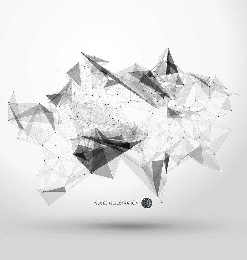 Abstrakt grafiskt bestå av punkter, linjer och anslutning, internetteknologi royaltyfri illustrationer