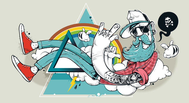 Abstrakt grafittihipster stock illustrationer