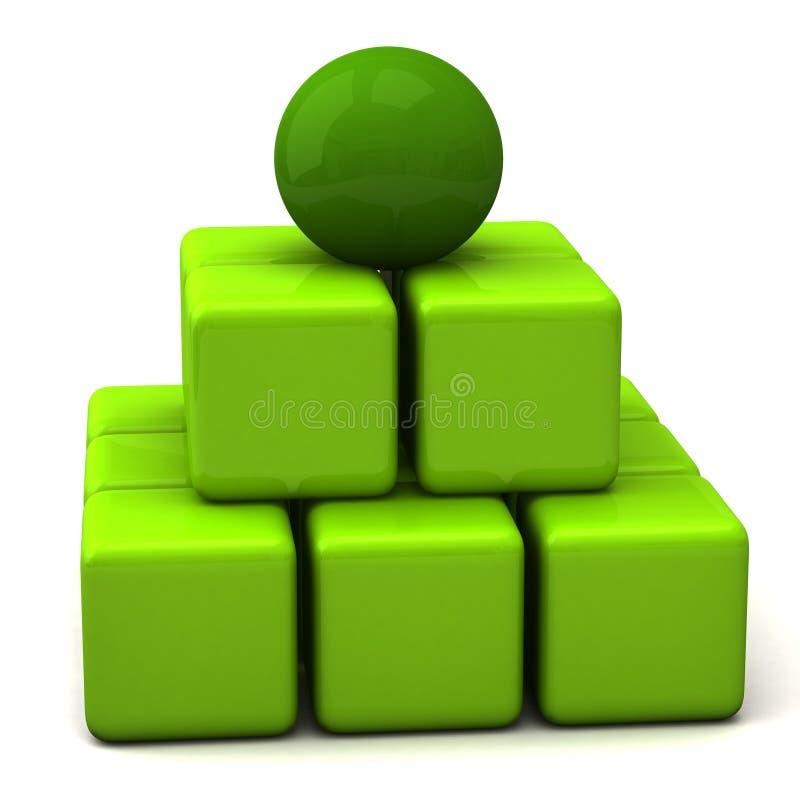 abstrakt greenpyramid för affär 3d stock illustrationer