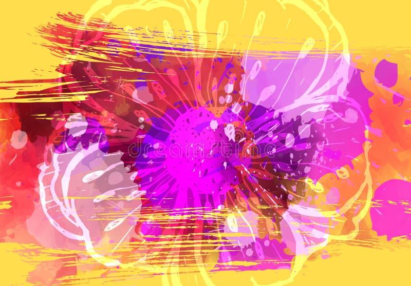 Abstrakt grungebakgrund med den målade blomman stock illustrationer