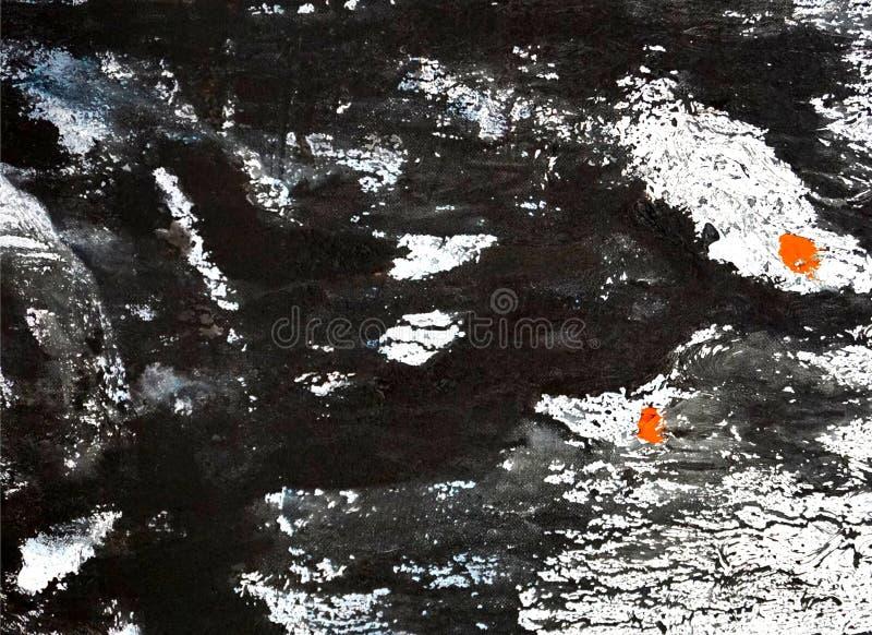 Abstrakt grungebakgrund - svart, vit och apelsin arkivbild