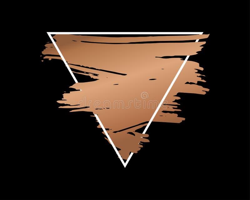 Abstrakt grungebakgrundsmall Guld- borsteslaglängd över triangelram stock illustrationer