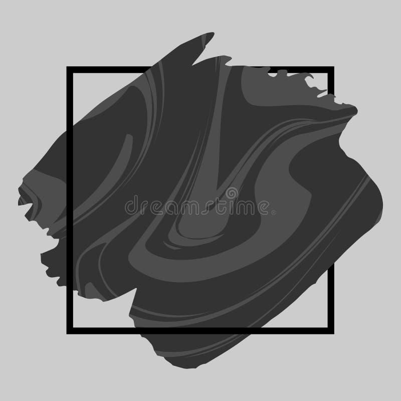 Abstrakt grungebakgrundsmall Svart marmorerar borsteslaglängden över fyrkantig ram vektor illustrationer