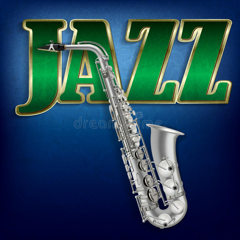 Abstrakt grungemusikbakgrund med den ordjazz och saxofonen royaltyfri illustrationer