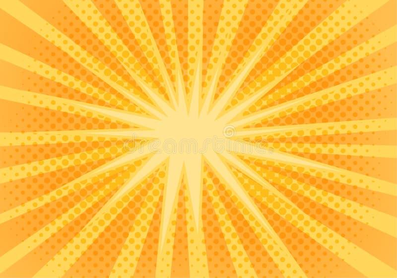Abstrakt gul bakgrund för popkonst med orange strålar royaltyfri illustrationer