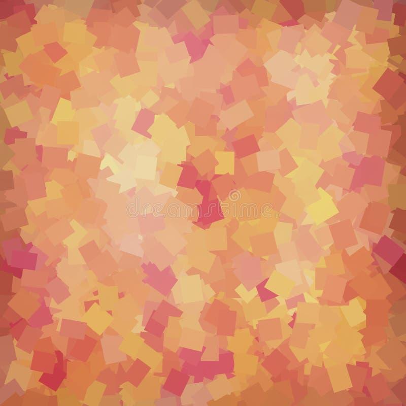 Abstrakt gul, för för apelsin, rosa och röda fyrkanter geometrisk bakgrund royaltyfri illustrationer