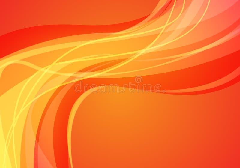 Abstrakt gul linje vektor för bakgrund för röd design för kurvvågljus modern futuristisk royaltyfri illustrationer