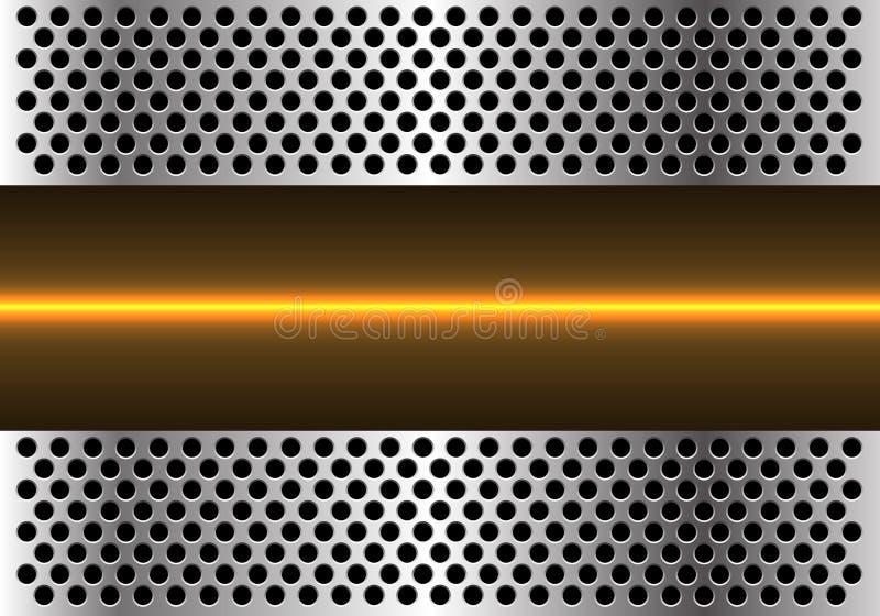 Abstrakt gul ljus linje teknologi i vektor för bakgrund för design för metallcirkelingrepp modern futuristisk royaltyfri illustrationer