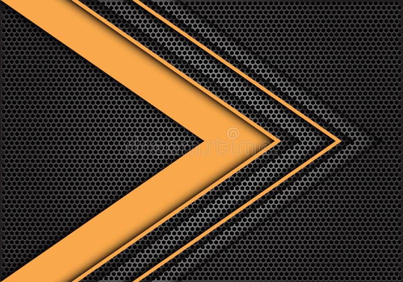 Abstrakt gul pilhastighetsriktning på mörker - vektor för textur för bakgrund för grå sexhörningsingreppsdesign modern futuristis royaltyfri illustrationer
