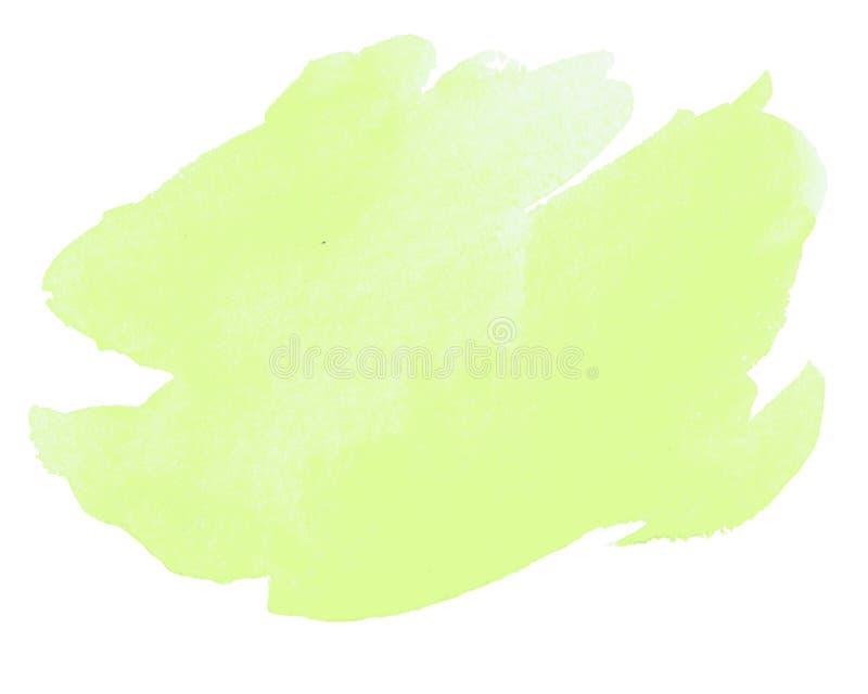 Abstrakt gul slaglängd för målad borste för vattenfärghand på vitbok royaltyfri illustrationer