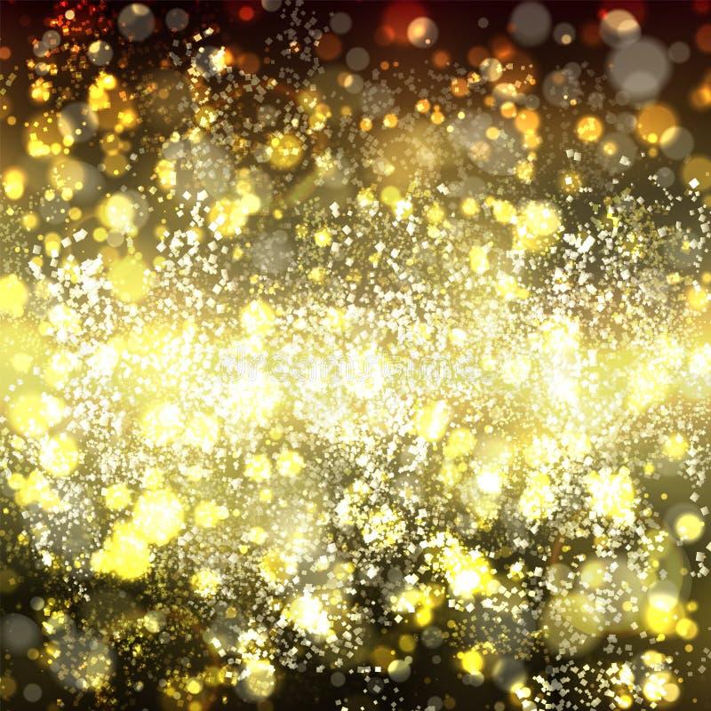 Abstrakt guld- bakgrund med bokeh Guling och ljus - brun suddighet stock illustrationer