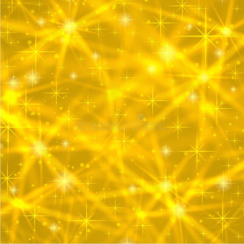 Abstrakt guld- bakgrund med brusanden som blinkar stjärnor Kosmisk skinande galax (atmosfär) Feriemellanrumstextur för jul stock illustrationer