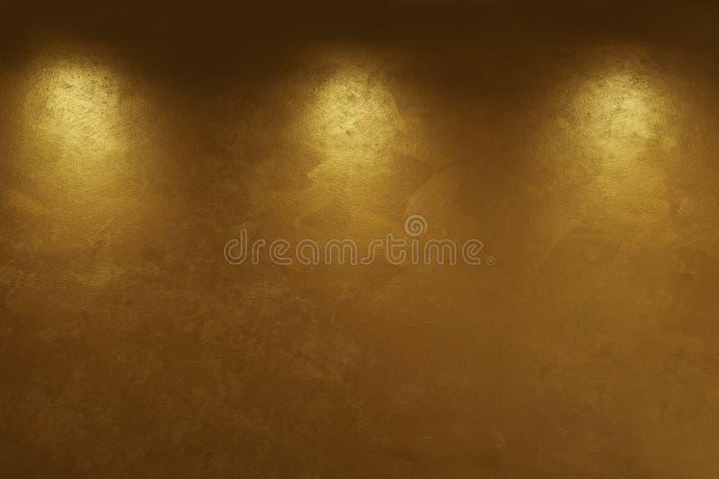 Abstrakt guld- bakgrund med tre ljusa punkter arkivbilder