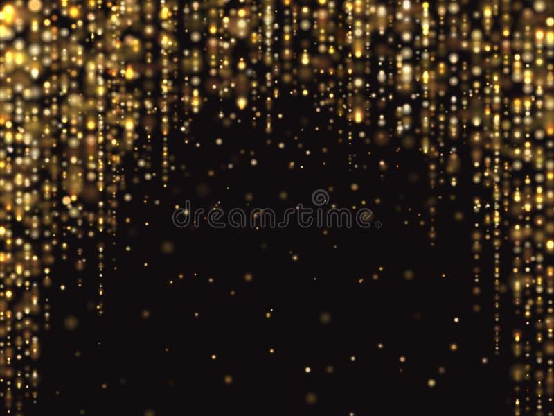 Abstrakt guld blänker ljusvektorbakgrund med fallande textur för rich för gnistrandedamm lyxig stock illustrationer